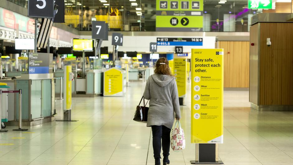 A woman pictured in the empty departures area of Dublin Airport as concern grows regarding the impact of foreign travel on the level of Covid 19 in the country. Picture; Gerry Mooney