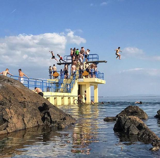 Different times... the crowded diving boards at Salthill, Co Galway. Photo: Twitter / @GalwayTourism