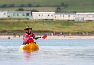 Pól Ó Conghaile pictured kayaking at Ardmore. Picture: Dylan Vaughan.