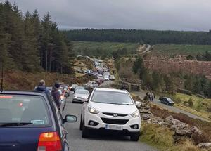 Busy scenes near Lough Tay, Co Wicklow as crowds fled coronavirus restrictions. Photo: @LugMoquilla