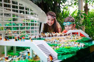 Aliya Keogh (8) and Ben Keogh (6) pictured alongside a 55,667 Lego brick model replica of Center Parcs' Subtropical Swimming Paradise. Bookings have opened for the Irish resort.