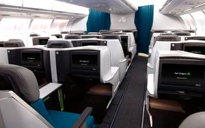 Aer Lingus Buness Class, with entertainment screens