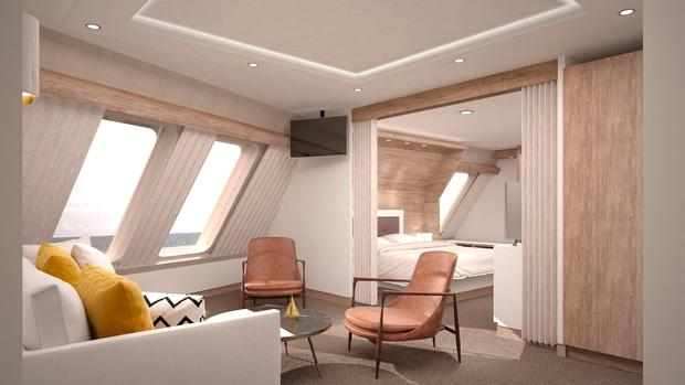 Artist's impression of a new presidential suite on Irish Ferries' €144 million cruise-ferry, for delivery in 2018.