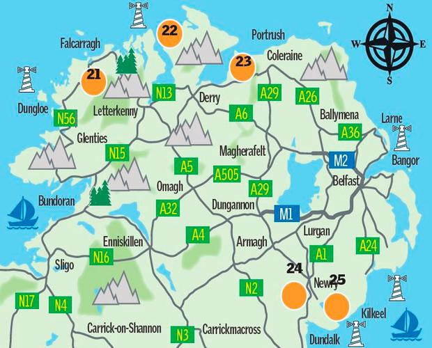 Map: Ulster's Winter Walks (Sunday Independent)