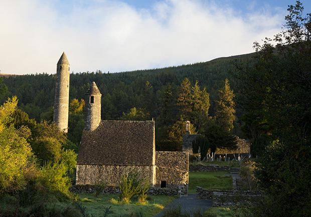 St Kevin's church and round tower, Glendalough monastic site, Co Wicklow, Ireland
