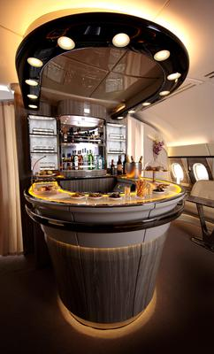 Emirates' revamped A380 onboard lounge