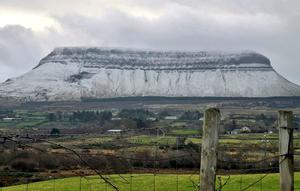 An icy Ben Bulben, Co Sligo, captured by Cllr Marie Casserly. Photo: Twitter / @Marie_Casserly