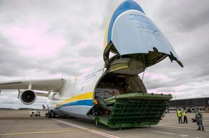 The Antonov AN-225 was carrying Irelands' largest consignment of PPE in a single flight. Photo: Arthur Ellis.