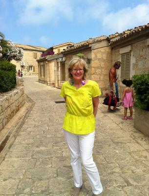 Kamarina: Mary O'Sullivan pictured on one of the streets at the Club Med resort which resembles a typical Sicilian village