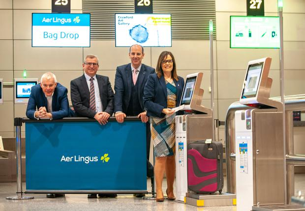Niall MacCarthy, Managing Director, Cork Airport; Jim Rogers, Manager Business Systems, Aer Lingus; Peter O'Shea, Ground Operations Manager, Aer Lingus, Cork and Dorothy Coffey, Operations & Safety, Cork Airport and as Cork Airport and its airline partner Aer Lingus reveal the airport's new self-service platforms following a €200,000 capital investment.
