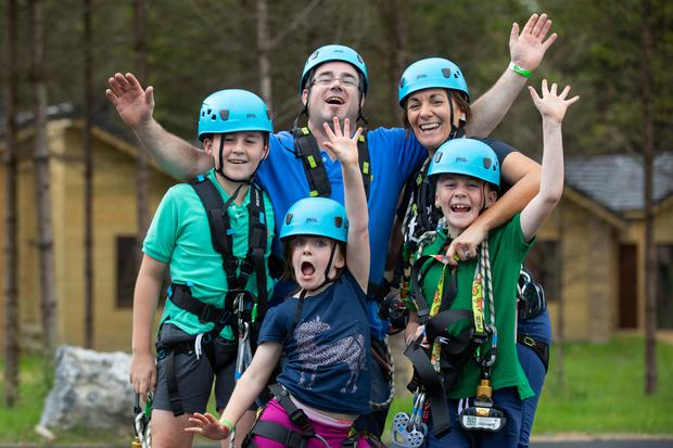 The McGonigle family from Bansha, Co Tipperary; Jack (11); Shane; Katie Mai, (7); Kay; and Charlie, (9) at the official launch of Center Parcs Longford Forest. Pic: Naoise Culhane