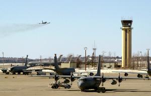 A KC-135 refueling tanker takes off at Bangor International Airport. Photo: Portland Press Herald via Getty Images