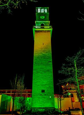 The Clock Tower of Tirana in Albania joins Tourism Ireland's Global Greening initiative. Pic – Tourism Ireland