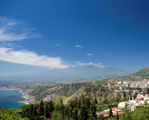 Volcano: The spectacular Mount Etna, near Taormina in Sicily, is the tallest active volcano in Europe