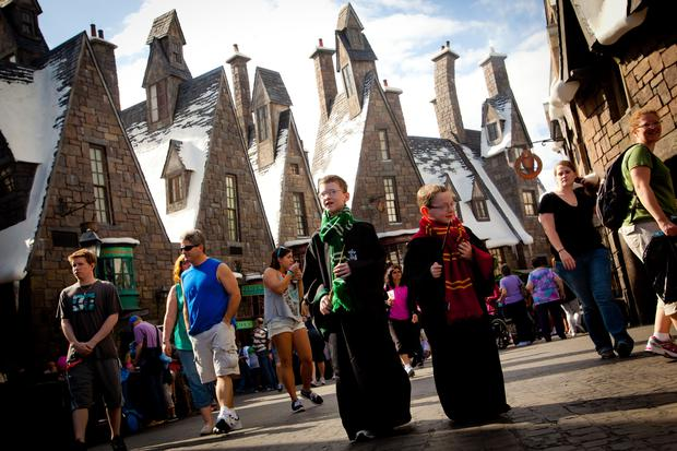 In the Wizarding World of Harry Potter theme park in Orlando, Fla., visitors can explore the village of Hogsmeade. CREDIT: Universal Orlando Resort