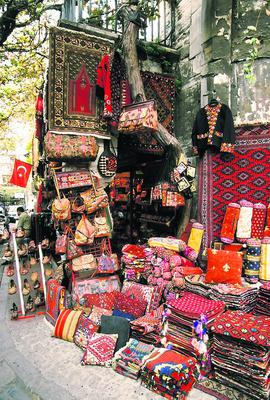 A market selling traditional textiles.
