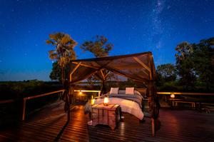 Star treatment: The star bed at Abu Camp, Botswana