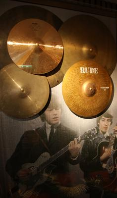 Charlie Watts' cymbals, from the Rolling Stones, at the Hard Rock Hotel in Dublin