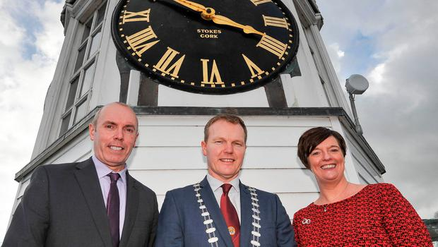 Mayor of the County of Cork Cllr Seamus McGrath with Cork County Council chief executive Tim Lucey, and Jenny De Saulles, Head of Ireland's Ancient East with Failte Ireland. Picture: David Keane.
