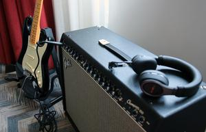 A Fender Stratocaster and amp delivered in-room at the Hard Rock Hotel in Dublin