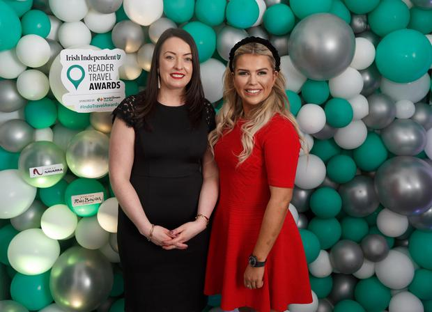 Cliona Carroll and Tara Denmark of INM's SPonsorship and Events team, at the Irish Independent Reader Travel Awards. Photo: Fran Veale