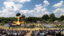 Explosive fun: Fiery action at one of France's top tourist attractions, Puy du Fou, in the heart of The Vendee