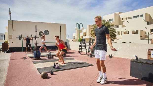 An outdoor workout session