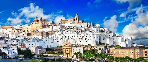 The whitewashed walls and buildings of Ostuni look resplendent in the sunshine and can be seen for miles away.