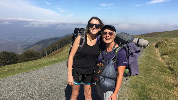 Bronagh Carroll (left) with a fellow pilgim on one of her many Caminos