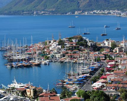 Sea View: Marmaris and its marina. It is the largest marina in the Mediterranean with moorings for 1300 boats, and you can explore the bay by boat
