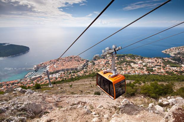 A cable car over Dubrovnik, Croatia