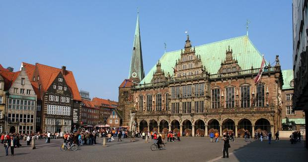 Reach for the sky: The stunning City Hall in Bremen. Bremen is famed as the home of Becks.