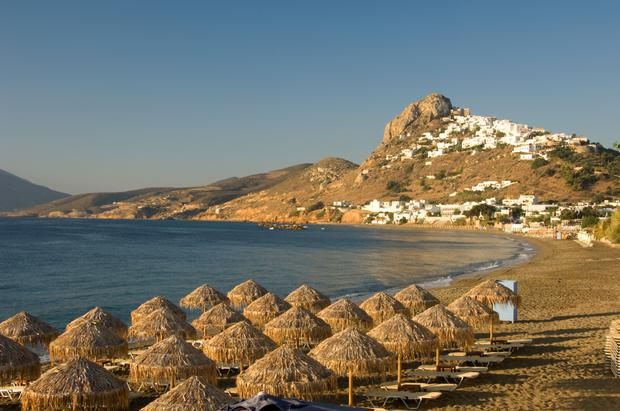 View of Skyros town from the beach