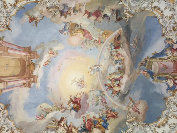 The ceiling fresco by Baptist Zimmermann in the Pilgrimage Church of the Scourged Saviour
