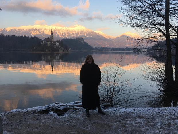 Madeleine at beautiful Lake Bled with an ambience out of a Gothic novel