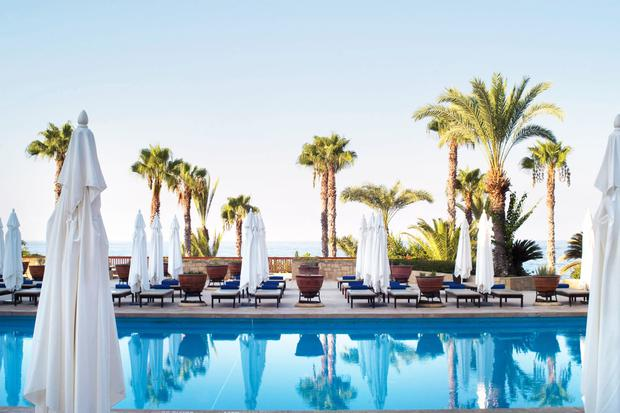 The vivid Mediterranean blue of the main pool at Annabelle Hotel, Paphos