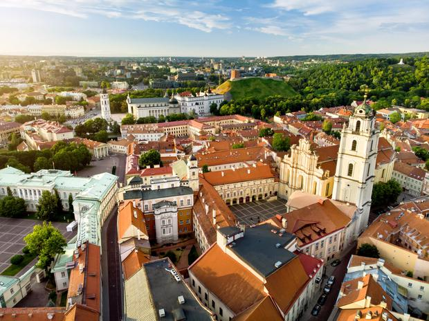 An aerial view over Vilnius, capital of Lithuania