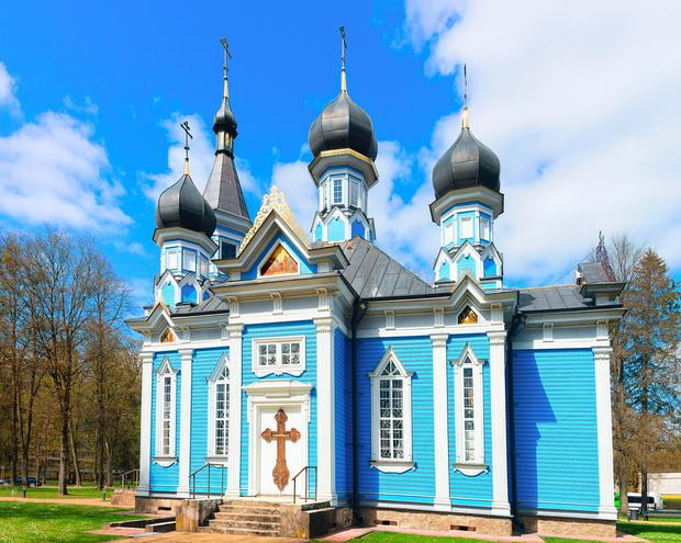 The characteristically Byzantine spires of an orthodox church in the town of Druskininka