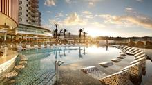 Sunrise over the pool at the Hard Rock Hotel in Tenerife