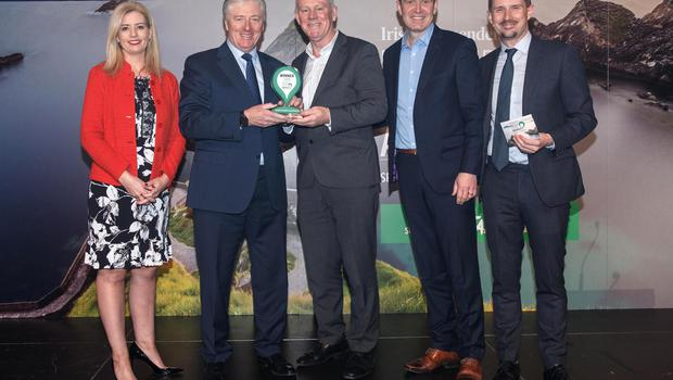 Ireland's Favourite Local Attraction: Sinead Ryan, Pat Kenny, Jerry Walsh and Fred Verbier ( Bray to Greystones Cliff Walk) and Pól Ó Conghaile at the Irish Independent Reader Travel Awards 2020 Photograph: Fran Veale