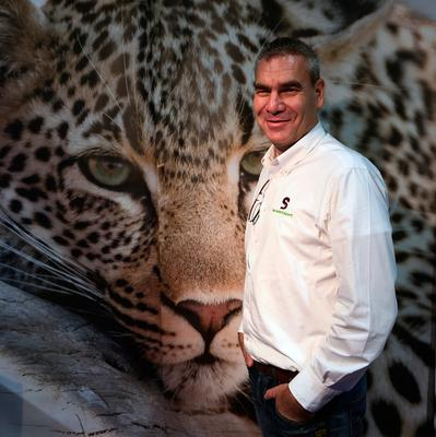 Andre Migliarina, The Safari Expert, on his stand at Holiday World