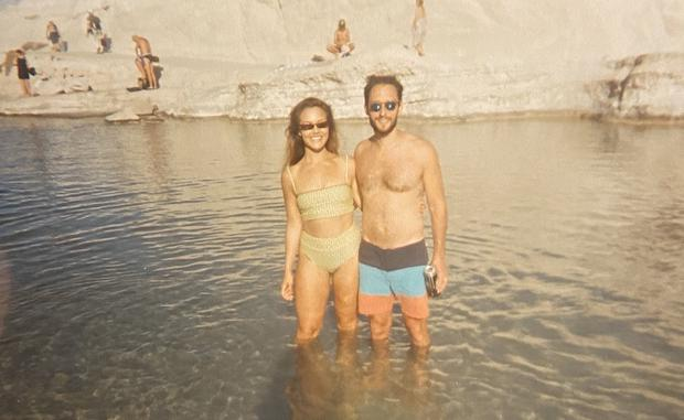Elizabeth Kiefer and her husband, Andrew Tejerina, at Sarakiniko on the Greek island of Milos. CREDIT: Family Photo.