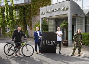 Travis Zeray of Clew Bay Bike Hire, Barry O'Connor of Hotel Westport, chef Cian Hayes and Patsy McSweeney of Family Bush Camp in Westport.