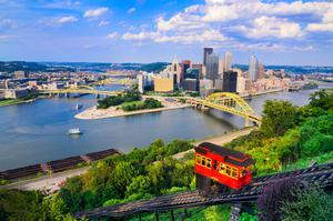 The Duquesne Incline railroad near Pittsburgh's South Side and scaling Mt Washington