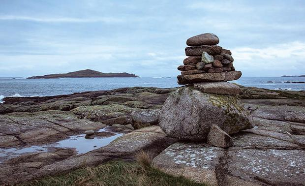 View towards Cruagh Island from the cairn on the tidal islet of Illaunakeegher on Omey Island. Photo: Gareth McCormack, from Ireland's Wild Atlantic Way –A Walking Guide by Helen Fairbairn (The Collins Press, 2016)