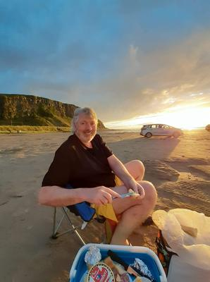 """Downhill Beach, Co Derry. """"We set out our wee table with our favourite delicacies, poured some wine, sat back and just breathed in the sea air, lifted our faces to the golden evening sun and soaked up the sense of freedom and also relief that this day had finally come,"""" writes Diane Cook."""