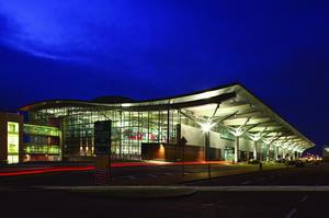 The new terminal at night. Photo from Fifty Years Have Flown - The History of Cork Airport by Donal O Drisceoil and Diarmuid O Drisceoil, Collins Press, 2011