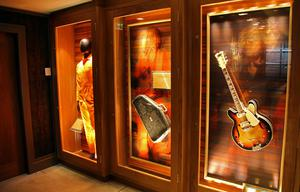 David Bowie's boiler suit, Janis Joplin's autoharp case, and a guitar signed by The Cranberries at the Hard Rock Hotel in Dublin