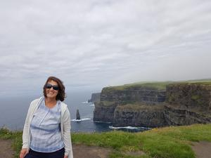 Arlene Harris at The Cliffs of Moher, Liscannor, Co Clare.