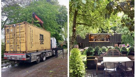 The shipping container that became the centrepiece of The Dungarvan Park Hotel's garden bar.